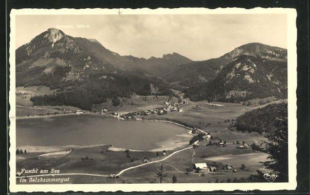 AK Fuschl am See, Panorama aus der Vogelschau 0