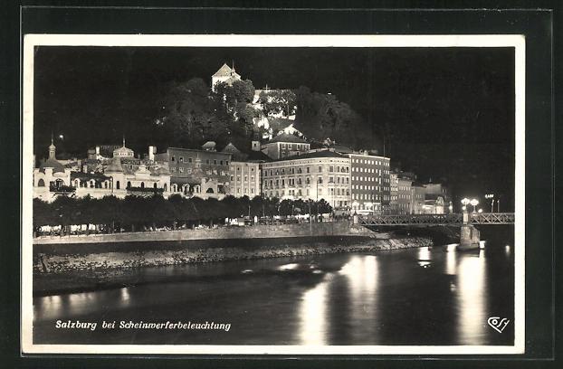 AK Salzburg, Kapuzinerkloster und Platzl im Scheinwerferbeleuchtung 0