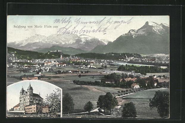 AK Salzburg, Panorama, Kirche Maria Plain 0