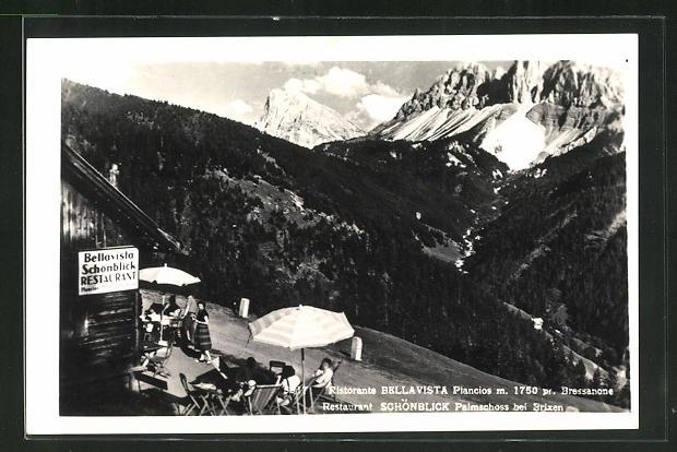 AK Brixen, Restaurant Schönblick Palmschoss, grandiose Aussicht auf die Alpen 0