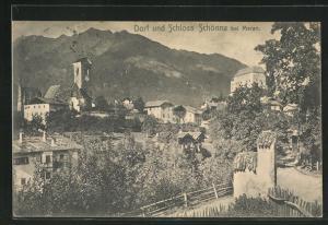 AK Schönna, Blick auf Dorf und Schloss