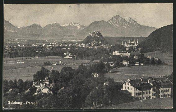AK Salzburg-Parsch, Blick auf den Ort und die Stadt 0