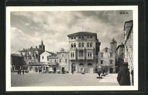 AK Rab, Marktplatz mit Hotel Astoria und Villa Danica