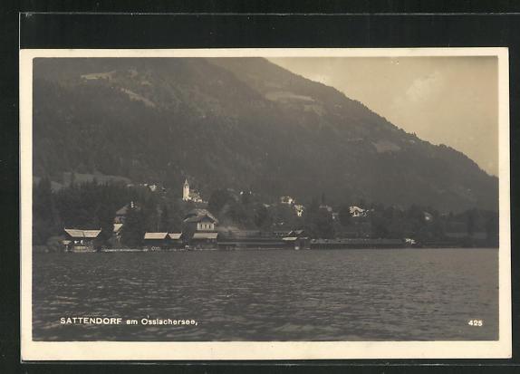 AK Sattendorf am Ossiachersee, Blick vom See auf den Ort 0
