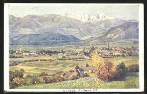 AK Villach, Panoramablick auf die Stadt