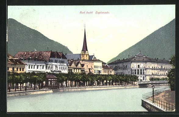 AK Bad Ischl, An der Esplanade, Hotel Austria und Kirche 0