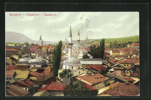 AK Sarajewo, Blick über die Dächer der Stadt 0