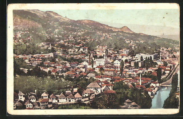 AK Sarajewo, Panoramablick auf die Stadt 0
