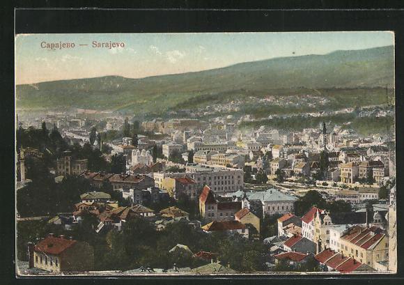 AK Sarajewo, Blick auf die Stadt und ins Land 0