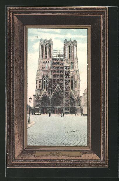 Passepartout-AK Reims, La Cathedrale, Facade 0