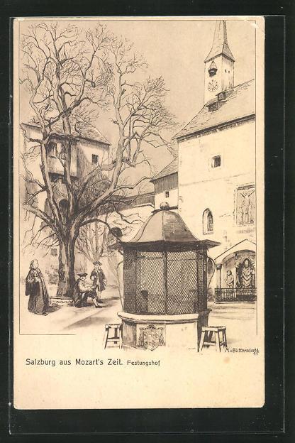 AK Salzburg, Festungshof zur Zeit Mozarts 0