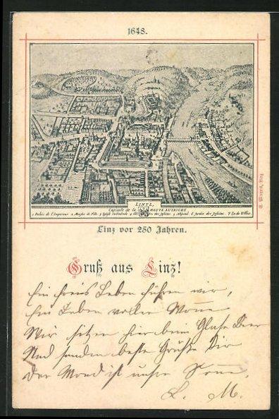 AK Linz, Gesamtansicht um 1648 0
