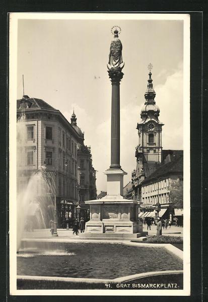 AK Graz, Brunnen und Mariensäule auf dem Bismarckplatz 0