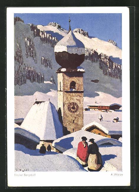 Künstler-AK Tiroler Bergdorf im Winter 0