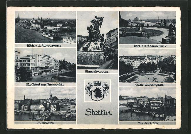 AK Stettin, Manzelbrunnen, UFA-Palast, Am Bollwerk 0
