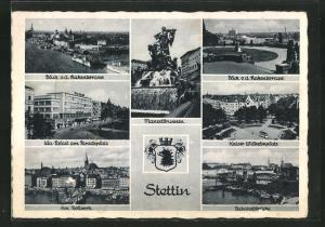 AK Stettin, Manzelbrunnen, UFA-Palast, Am Bollwerk