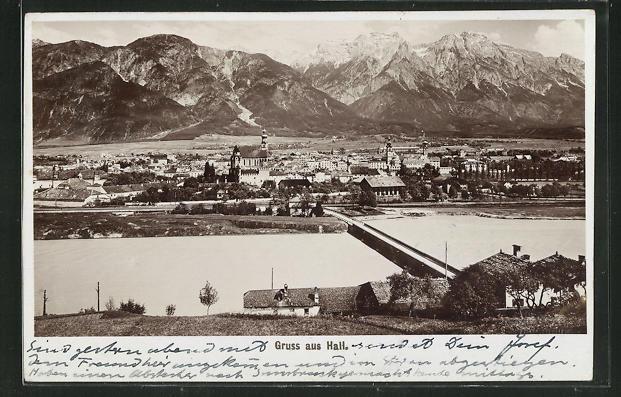 Foto-AK Fritz Gratl: Hall, Panorama des Ortes 0