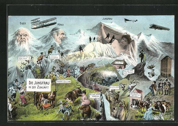 AK Die Jungfrau in der Zukunft, Berg mit Gesicht / Berggesichter 0