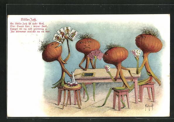 Künstler-Lithographie H. Schmidt: Bölle Jass, Zwiebeln spielen Karten 0