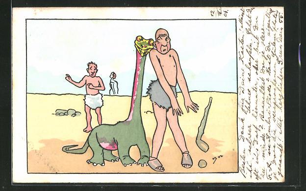 Künstler-AK Urmensch und anhänglicher Dinosaurier, Scherz 0