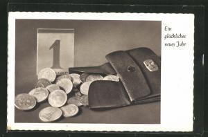 AK Ein glückliches neues Jahr, Portemonnaie voller Münzen, Kalender