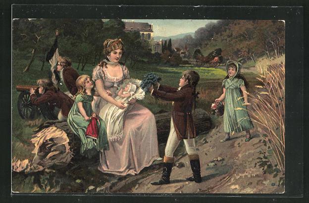 AK Aus grosser Zeit - Königin Luise mit ihren Kindern in Huben 0
