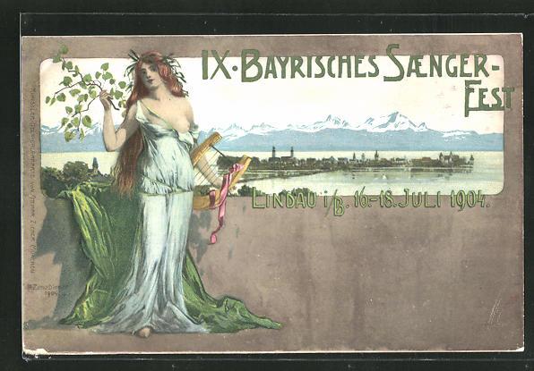 AK Lindau, IX. Bayrisches Saenger-Fest 1904, Ganzsache Bayern PP15 C64 0