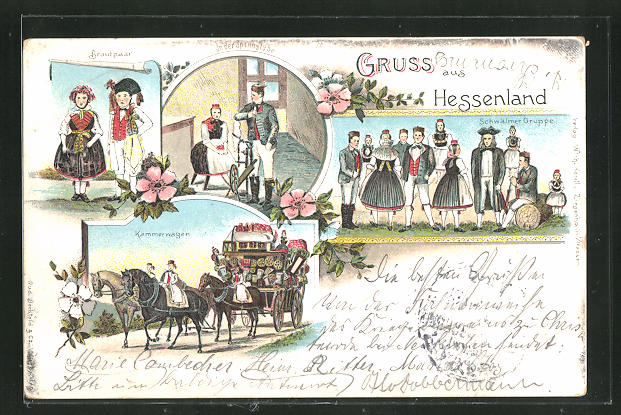 Lithographie Gruss aus Hessenland, Brautpaar, Kammerwagen, Spinnstube, Schwälmer Gruppe 0
