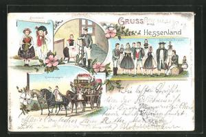 Lithographie Gruss aus Hessenland, Brautpaar, Kammerwagen, Spinnstube, Schwälmer Gruppe