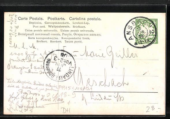 Künstler-AK H Schwabe: Ansbach, Vereinigung 1906, Ganzsache Bayern PP15 C128 /01 1