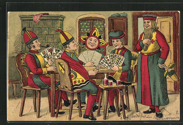 Präge-AK Motive vom Skat als Spieler, Kartenspiel 0