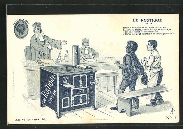 AK Le Rustique - Odelin, Ofen-Reklame, Gerichtsverhandlung 0