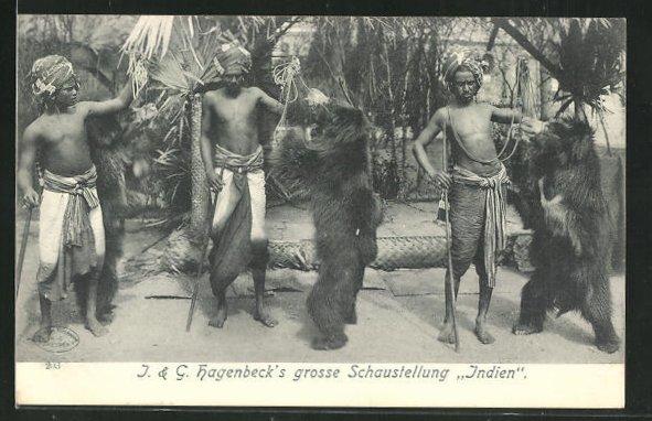 AK J. & G. Hagenbeck`s Schaustellung Indien, Tanzbären 0
