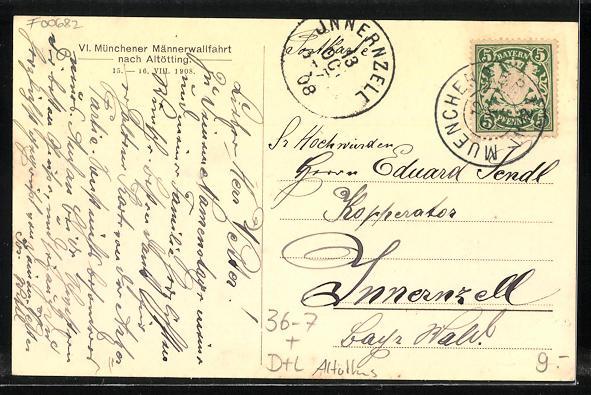 Künstler-AK Altötting, Münchener Männerwallfahrt, Priesterjubiläum Papst Pius X. 1908 1
