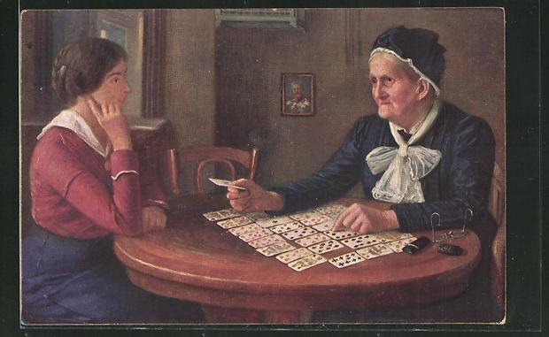 Künstler-AK Alfredo Russo: Frage an das Schicksal, Hellseherin, Kartenleserin 0