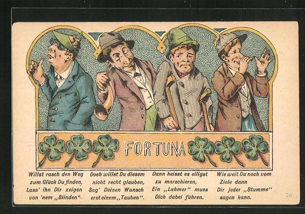 AK Fortuna - Willst rasch den Weg zum Glück Du finden. lass ihn dir zeigen vonnem Blinden... 0