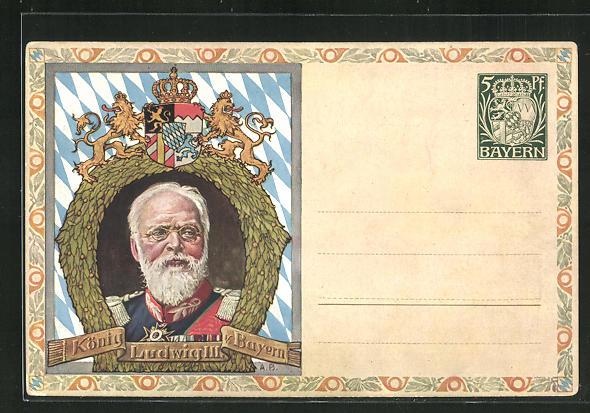 AK König Ludwig III. von Bayern, Ganzsache Bayern 0