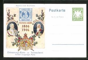 AK Bayerns erste Briefmarke, 1806-1906, Prinzregent Luitpold und Maximilian-Joseph, Ganzsache Bayern