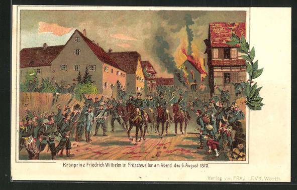 Lithographie Fröschweiler, Kronprinz Friedrich Wilhelm am Abend des 6. August 1870 0