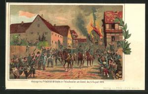 Lithographie Fröschweiler, Kronprinz Friedrich Wilhelm am Abend des 6. August 1870