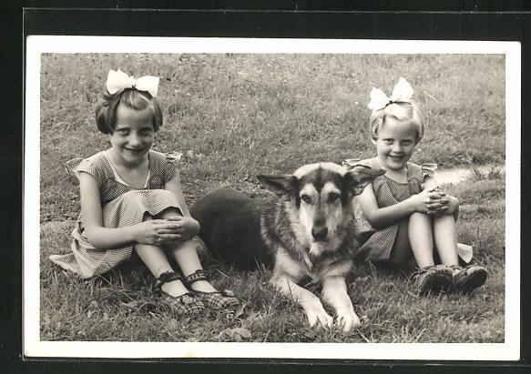 Foto-AK Zwei Mädchen mit Haarschleifen und Schäferhund 0
