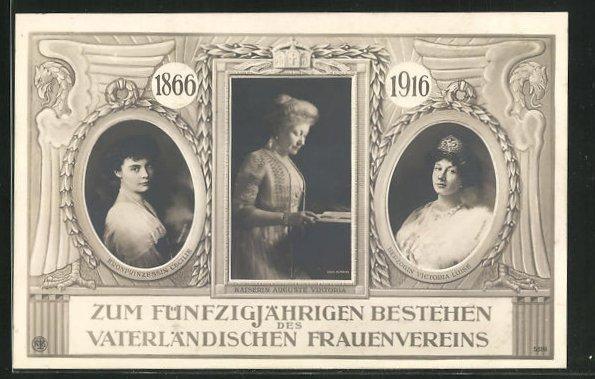AK Zum fünfzigjährigen Bestehen des Vaterländischen Frauenvereins, Kaiserin Auguste Victoria 0