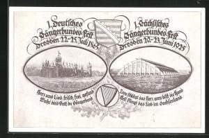 AK Dresden, 1. Deutsches Sängerbundes-Fest 1865 und 1. Sächs. Sängerbundes-Fest 1925
