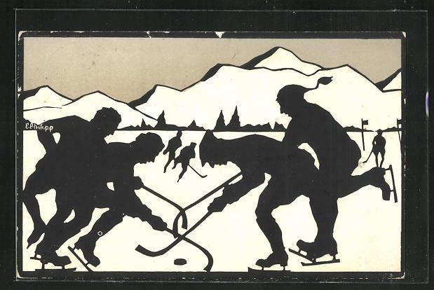 Künstler-AK E. Philipp: Wintersport, Eishockey 0