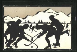 Künstler-AK E. Philipp: Wintersport, Eishockey