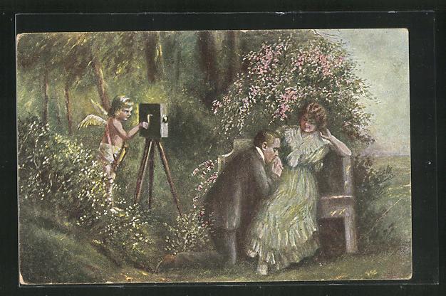 Künstler-AK H. Mager: Amors Schelmenstreich, Fotoapparat, Kamera 0