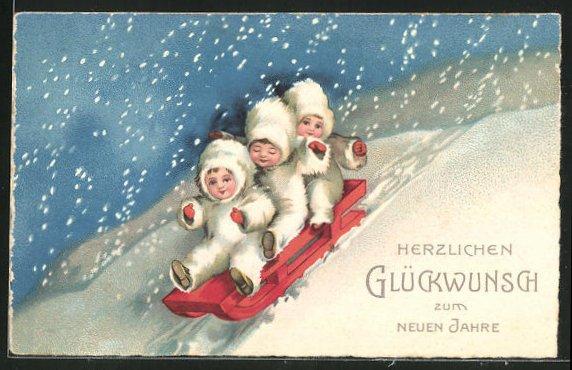 AK Glückwunsch zum neuen Jahre, Kinder auf Schlitten 0