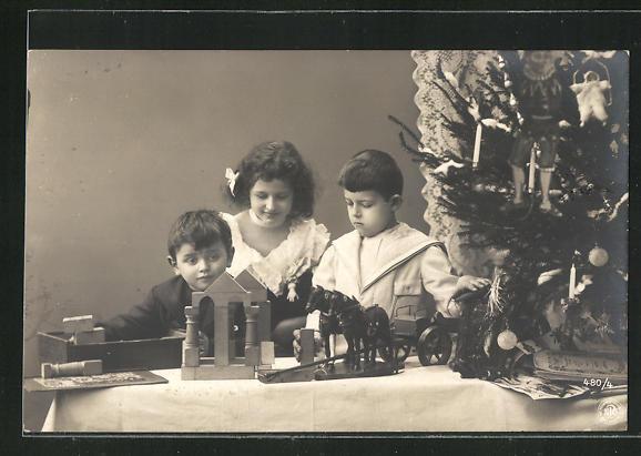 Foto-AK Kinder mit Holzspielzeug, Klötze, Weihnachten 0