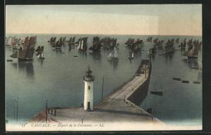 AK Cancale, Départ de la Caravane, Segelschiffe vor Leuchtturm