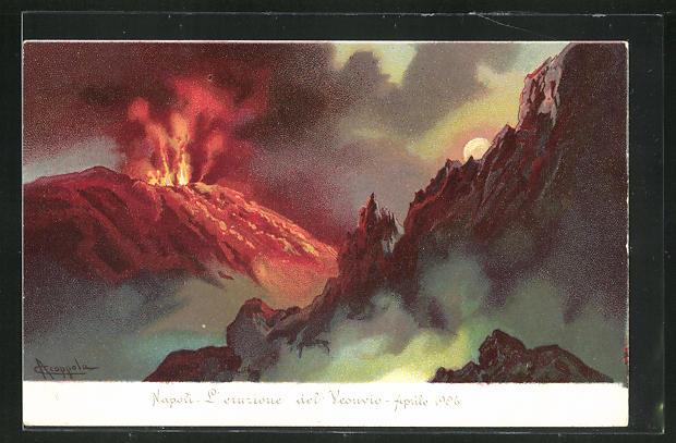 Künstler-AK Naopli / Neapel, L`eruzione del Vesuvio, Aprile 1906, Vulkan 0